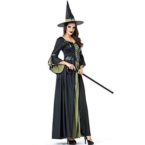 Cosplay Kostüm Lili - WYY-MY Halloween Langes Hexenkostüm Hexenkostüm Kleid Halloween Bar Party Cosplay Kostüm Hexe,Grün