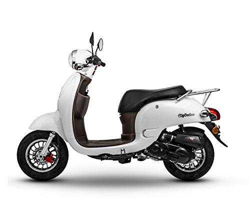 Retro Roller CityCruiser 50 49 perlweiß Motorroller Scooter Moped Mofa Cruiser weiß