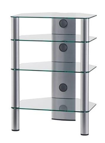 SONOROUS - RX 2140 TG. Meuble Hi-Fi 4 étagères. Verre transparent. Profilés aluminium gris.