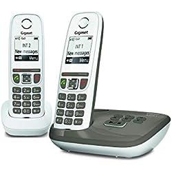 Gigaset AS470A Duo - Téléphone fixe sans fil - Répondeur - 2 combinés - Blanc et Beige