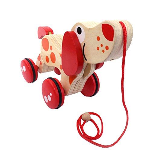 TOYMYTOY Holz Push-und Pull-Spielzeug Walk-A-Long Puppy Spielzeug (Hund Traktor) -