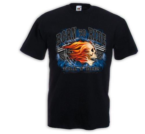 Biker T-Shirt Born To Ride Motorcycle Bike Racing USA Skull V8 Schwarz
