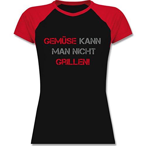 Grill Gemüse kann man nicht grillen zweifarbiges Baseballshirt / Raglan  TShirt für Damen Schwarz/Rot