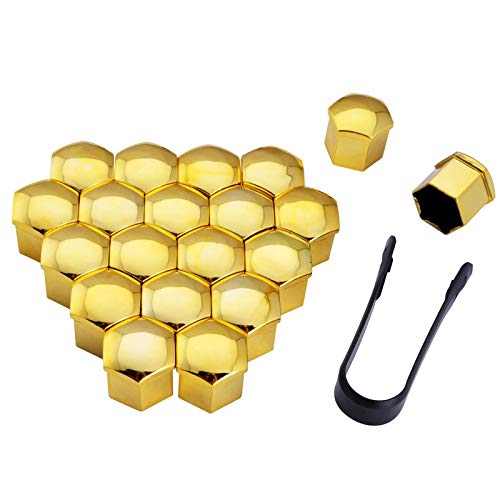 FJiuJin, 2019 20pcs 17mm 19mm Radmutter Bolt Kopf Abdeckkappe Schutz Bolt Caps Außendekoration Schutz Bolt Felgen Silber (Color Name : Gold, Specifications : 21mm)
