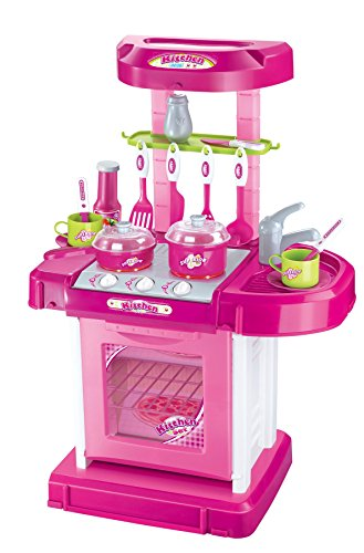 Vinsani Pink Light And Sound Kids Pretend Play Cooking Kitchen Set With Pots Pans Play Food