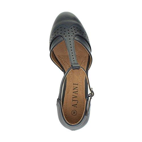 Damen Mitte Blockabsatz T-Riemen Ausgeschnitten Brogues Pumps Sandalen Größe 7 40 - 5