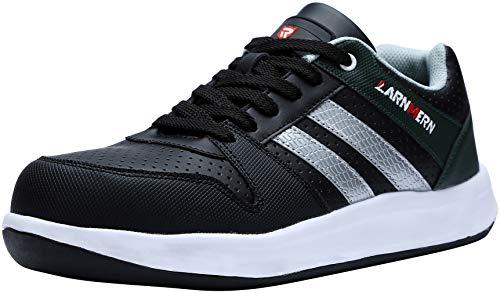 LARNMERN Zapato de Seguridad,con Aspecto de Deportiva de Piel LM-1726 de Gamuza,con Tapa de Acero con Suela Antideslizante Caucho Blanco y Negro 41 EU