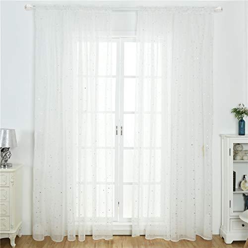 Aooword-home gardinen Panels Drape Easy Care Rod-Taschen Moderate wohnkultur energiesparen drucken Blumen für Wohnzimmer/Schlafzimmer, Gemustert, (1 Panel) 39x106inch Weiß -