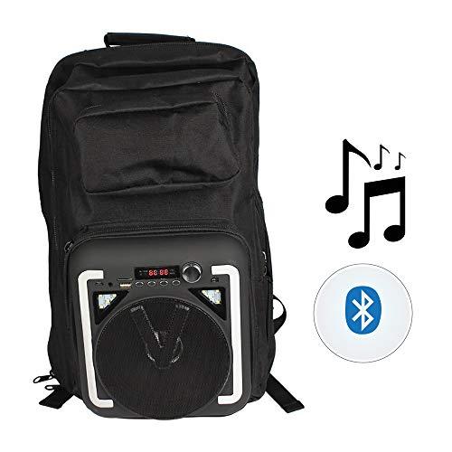 USB Outdoor Reise wasserdichte Rucksack, Lade Bluetooth Lautsprecher wasserdichte Tasche Mit Musik-Player Dual Bass Surround Sound Geeignet für Reise/Reiten, etc,Black