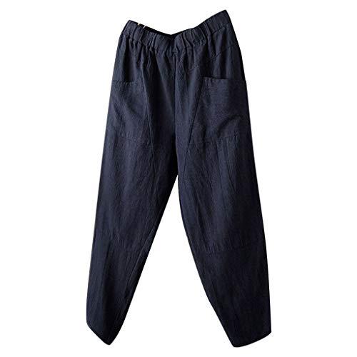 Xmiral Hosen Herren Elastische Taille Einfarbig Jogginghose mit Tasche für Männer Gerade Strecken Cargohose Bleistifthosen(Blau,3XL) (Große Marmor-strecke)