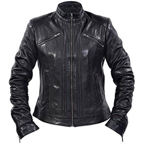 Las señoras el 100 % chaqueta de cuero negro estilo plisado Brando motorista Cuello chino
