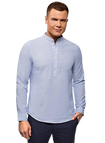 Oodji ultra uomo camicia in lino con colletto alla coreana, blu, 45,5 сm/it 56-58 / xxl