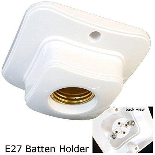 E27 Batten lamp holder White SQUARE Design ES Bulb Halogen LED CFL Lighting DIY