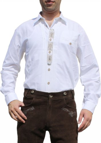 Trachtenhemd für Lederhosen mit Verzierung weiß, Hemdgröße:M