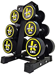3 Tier Dumbbell Holder - Steel Dumbbell Rack Stand,ease of access, with floor protection pad, Stable Design for home gym exe
