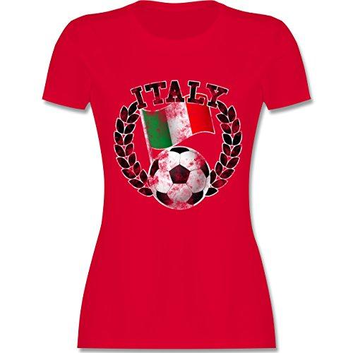 EM 2016 - Frankreich - Italy Flagge & Fußball Vintage - tailliertes Premium T-Shirt mit Rundhalsausschnitt für Damen Rot
