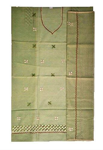 Crazy Art Culture Women's Cotton Dress Material Dress Material (Cac14_Pista Green_Free Size)
