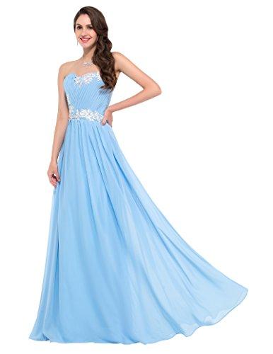 GRACE KARIN Damen Abendkleider Lange Herzform Chiffon Prom Dress in Mehreren Farben Himmelblau