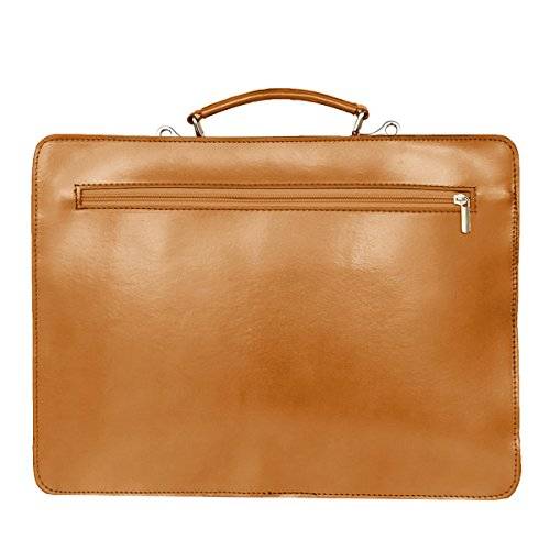 Leather Briefcase, Valigetta in pelle / business / laptop bag con tracolla, mod. 2027-p (39 / 29 / 11 cm) Italia Marrone (Cognac)