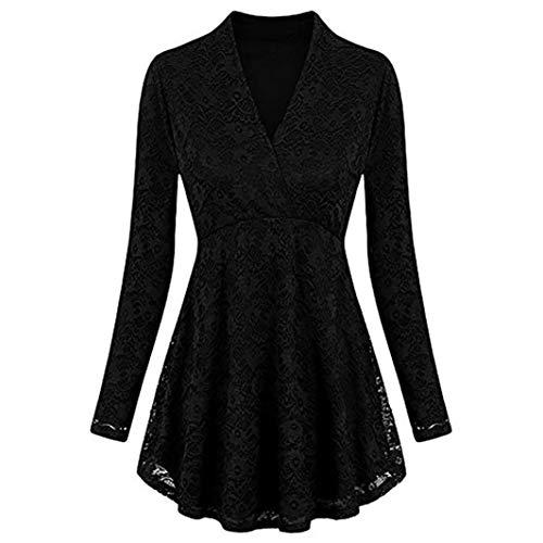 ESAILQ Women Shirt Long Sleeve v Neck Empire line Tunic top Plus Size Solid lace Blouse
