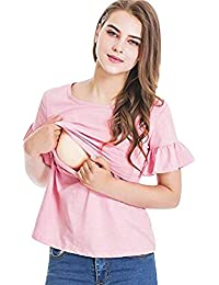 e9e5380af GUCIStyle Mujeres Camiseta de Lactancia Premamá Camisa de Maternidad Ropa  de Enfermería Manga del Volante Blusa
