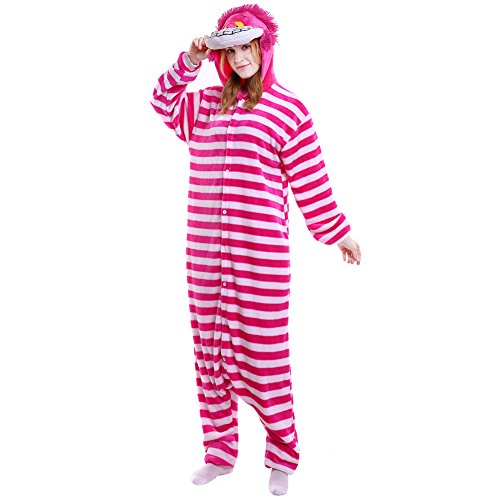 LSERVER Erwachsenen Tier Pyjama Jumpsuit Cosplay Unisex Pyjamas Outfit Onesie Nacht Kostüm, Cat, S (empfohlene Höhe 145-155 cm)