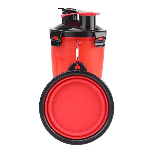GLOGLOW 2 in 1 Hund Trinkwasserflasche mit Schüssel, Portable Faltbare Haustier Reise Outdoor Wasserbecher Lebensmittelbehälter für 250g Snack Food und 350 ml Wasser(Rot) -