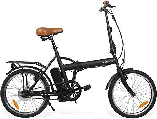 i-Bike I- Fold City Bicicletta Ripiegabile Elettrica con Pedalata Assistita Uomo, Nero, unica
