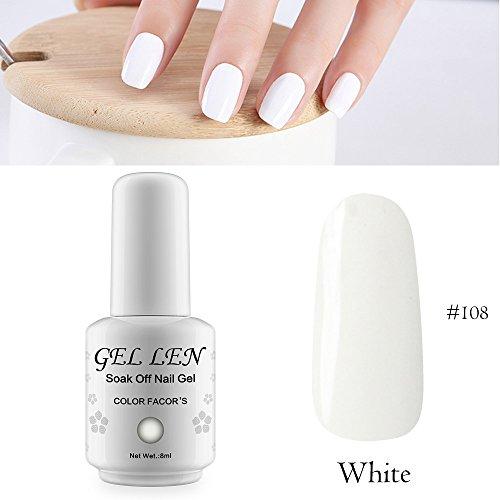 Gellen auflösbarer Nagellack Shellac UV Led nagellack Farblack 8ml 108 weiß (Weiß Uv Gel-nagel)