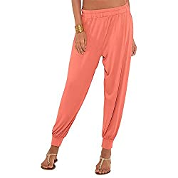 GO COLORS Womens Solid Harem Pant (200994788_Coral)