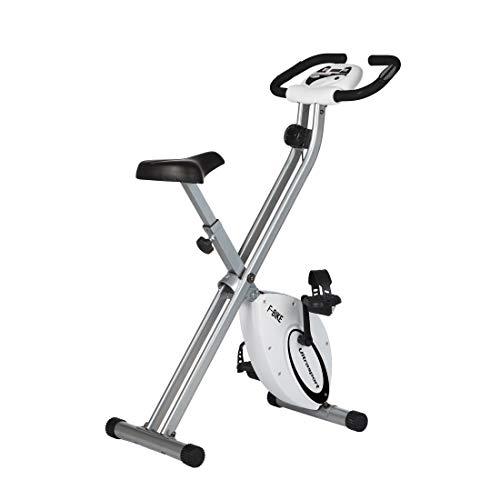 Ultrasport F-Bike, Fahrradtrainer, Heimtrainer, faltbares Fitnessfahrrad mit Trainingscomputer und Handpulssensoren, klappbar, belastbar bis 100 kg, Silber