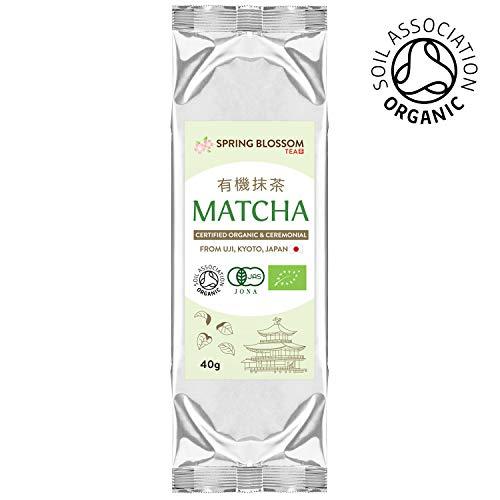 40g (Refill Pouch) ORGANIC Matcha Green Tea Powder Japanese CEREMONIAL Grade from Uji Kyoto, First Harvest Stone-Ground, Soil Association Certified, Energy Booster & Fat Burner, Vegan Detox Superdrink
