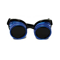 GloFX Glow In The Dark Blue Padded Steampunk Goggles Tinted Rave Eyes Gothic Welder Cyber Punk Glowing