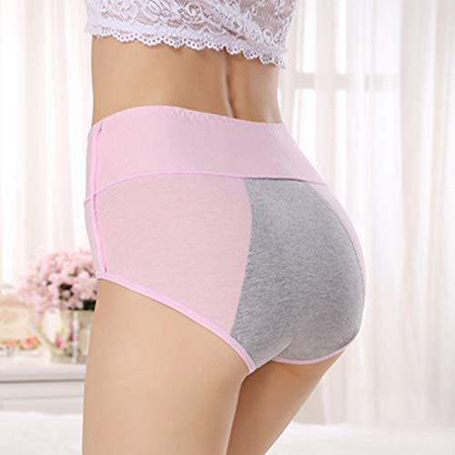 L_shop Damen Menstruationshorts, Hohe Taille, Wasserdichte Unterwäsche, für Damen, Menstruation, Zeit ohne Nähen, Höschen für Frauen, Rosa, Comme C\'Est la Description (L)