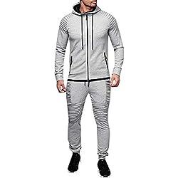 Traje de hombre otoño ❤️ Sonnena Pantalones de los hombres de otoño invierno bolsillo superior pantalones conjuntos traje deportivo chándal