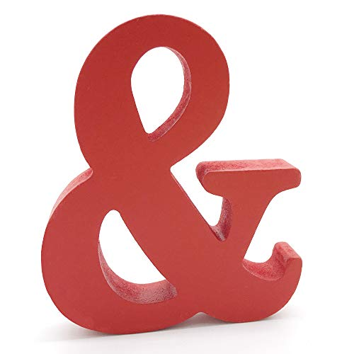 Lettres en Bois, Toifucos 10cm A-Z DIY Alphabet Anglais Ornaments D'artisanat pour Accueil Mariage Anniversaire Décoration de fête Accessoires, Rouge 1 pcs &