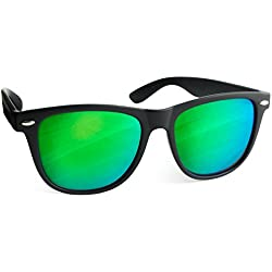 UVprotect® Sonnenbrille Wayfarer Design verspiegelt Schwarz Gruen W02