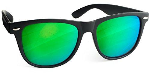 UVprotect Sonnenbrille Wayfarer Design verspiegelt Schwarz Gruen W02
