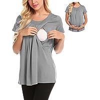 zhenwei Camiseta para Amamantar T-Shirt para Lactancia Camiseta de Mujer para Maternidad