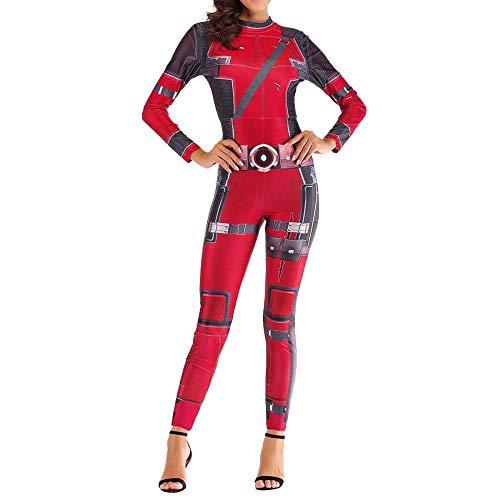 Adegk Frauen Deadpool Kostüm Weihnachten Halloween Show Cosplay Kostüm Weibliche Superheld Body Spandex Overalls,Large Red