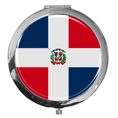 Miroir de poche / Drapeau la République dominicaine / Double agrandissement