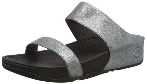 Fitflop Lulu Shimmersuede Slide, Sandali a Punta Aperta da Donna, Colore Grigio (Pewter 054), Taglia 7 UK (41 EU)
