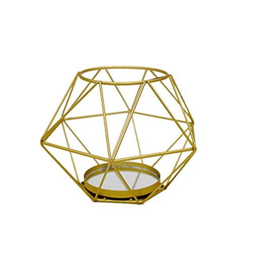 Teelicht Spiegel (Eiserner Kerzenhalter Europäischen Vintage-Stil Goldener Spiegel Hochzeit Kerzenhalter Geometrischer Metall Kerzenständer Teelichthalter Handwerk Dekoration Kerzenleuchter)