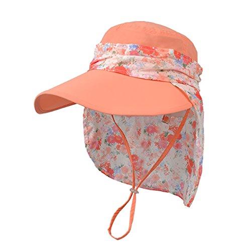 ZML Frauen UPF 50 Casual Tuch Sonnenhut Soft Breathable, Anti-UV, Verstellbar, Breiter Krempe, Floppy Sommer Beach Cap Sun Hair & Nackenschutz Visier für Damen/Mädchen (Farbe : Coral)