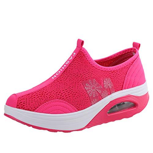 LILIHOT Damenmode Mesh Stoff FußBewegung ErhöHte Dicke Bottom Shake Schuhe Abnehmen Walkingschuhe Turnschuhe Fitness Keile Plattform Schuhe Sneakers Sportschuhe Laufschuhe