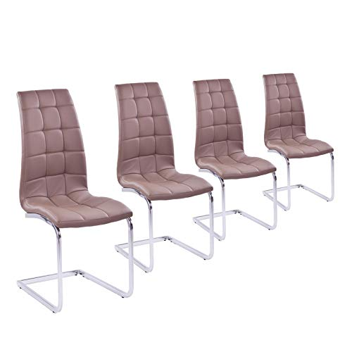 MACO Import Freischwinger 4er Set braun/coffee/beige Esszimmerstuhl Schwingstuhl Stuhl Kunstleder