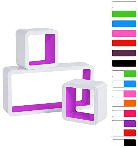 WOLTU RG9229la Lot de 3 Étagère Murale Cube en MDF, étagère CD Livres étagère,Blanc Fuchsia