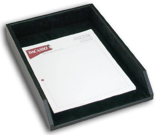 Dacasso Black Leather Letter Tray, Legal Size by Dacasso (Legal Letter Tray)