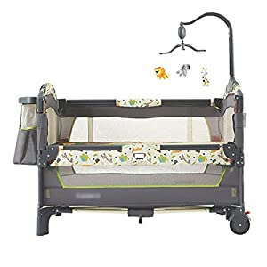 Hh001 Child Cot Child Bed Travel Cot Travel Cot With Mattress Included Child Crib Cot Mattress Folding Crib Cradle Bed Child Play Bed And Childlike Gifts (Color : DARK GRAY, Size : B)   3