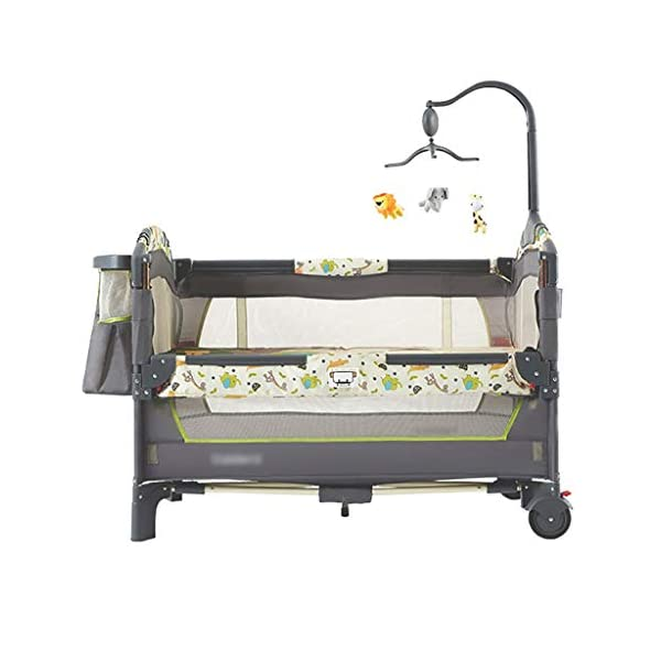 Hh001 Child Cot Child Bed Travel Cot Travel Cot With Mattress Included Child Crib Cot Mattress Folding Crib Cradle Bed Child Play Bed And Childlike Gifts (Color : DARK GRAY, Size : B)  【Crib material】: This baby crib has no paint, no formaldehyde, no harmful substances to the baby, and gives the baby a comfortable sleeping environment; the overall use of high-quality TD fabric is soft and comfortable; the corners are made of environmentally-friendly plastic materials. It is non-toxic and will not hurt the baby; the bracket is made of high-quality alloy material, which is durable and bears heavy weight. 【Crib Portable Design】: This crib has a folding design, easy to carry, travel, go to a friend's house to carry; there is a roller design under the bed, easy to move; when you are at home, if you do not need it, you It can be folded up without taking up space. 【Crib transparent mesh design】: The crib is surrounded by a transparent mesh design, which is not only refreshing and breathable, but also does not block your view, allowing you to observe your baby's every move while lying in bed. 1